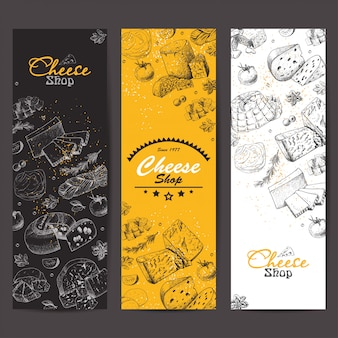 Vertical banners with cheeses