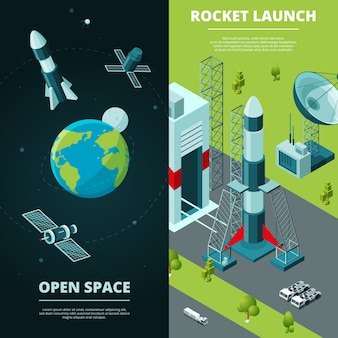 Vertical banners with pictures of space travel and launch pad in spaceport