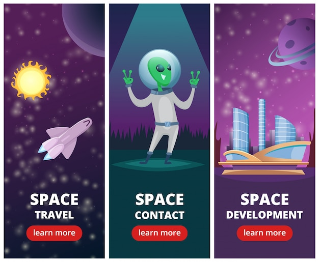 Vertical banners with pictures of space