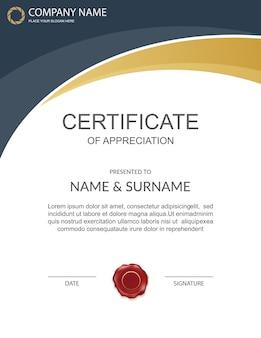Vertical black and gold certificate of appreciation