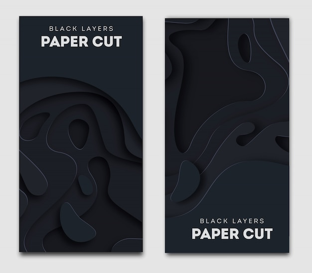 Vertical black banner with 3d abstract background, white paper cut shapes.