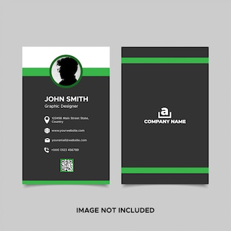 Vertical black green business card template with photo