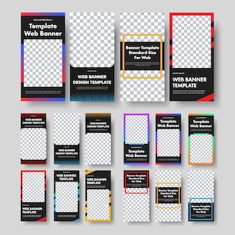 이미지 및 사진 테두리가있는 프레임에 대한 장소가있는 세로 검은 웹 배너 템플릿. 비즈니스 및 광고용 표준 크기 집합입니다. 삽화.