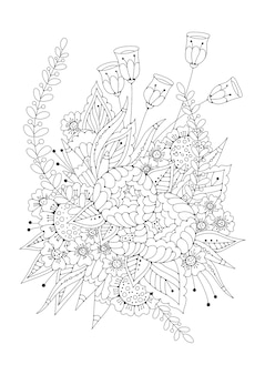 Vertical black and white background for coloring. flower page coloring book.