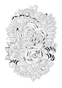 垂直ブラックホワイト花の背景。ぬりえ。