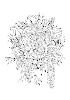 垂直ブラックホワイト花の背景。着色のためのベクトル図。