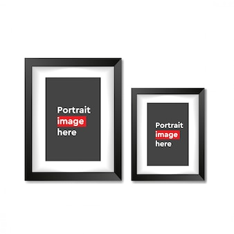 Vertical blank picture frame on white background