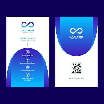 Vertical blue business card