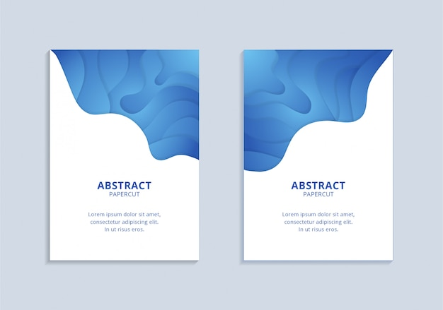 Vertical blue wavy shapes a4 poster set template