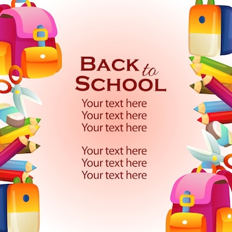Vertical border template back to school with stationary