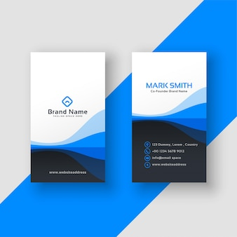Vertical business card blue template