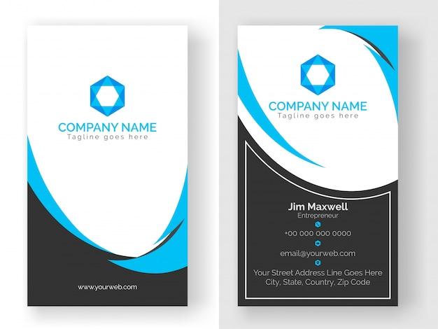 파란색과 회색 색상의 세로 명함 디자인.