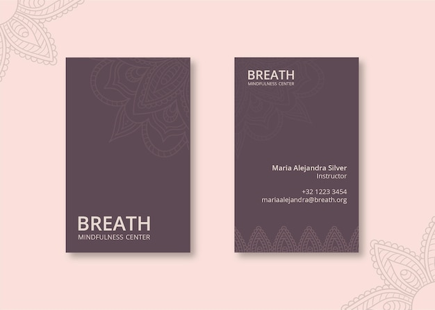Vertical business card for meditation and mindfulness