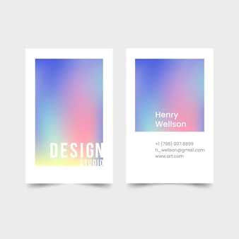 Vertical business card in pastel gradient colors