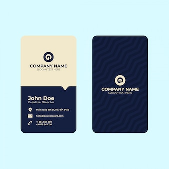 Vertical business card print template.