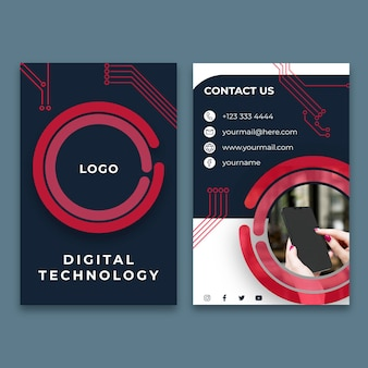 Vertical business card template for digital technology