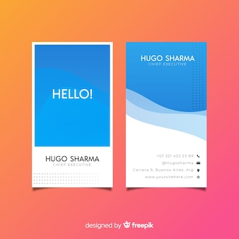 Vertical business card template, front and back design
