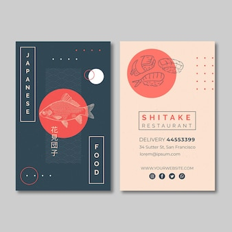 Vertical business card template for japanese food restaurant
