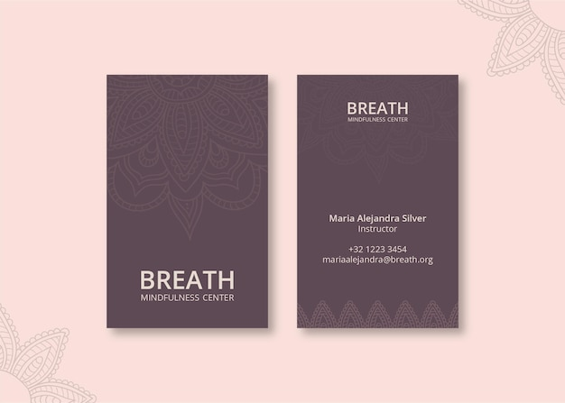 Vertical business card template for meditation and mindfulness