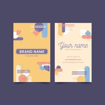 Vertical business card template in memphis style