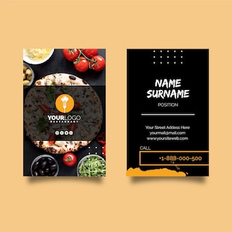 Vertical business card template for pizza restaurant