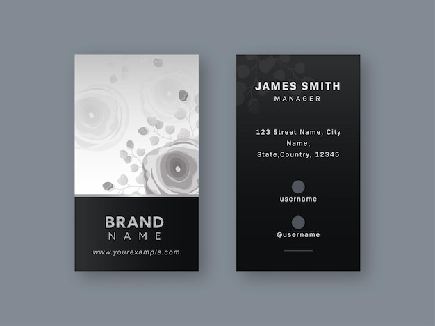 Vertical business card template with rose flowers in gray color.