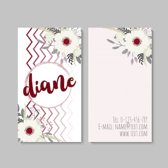 Vertical business card with beautiful flowers. template