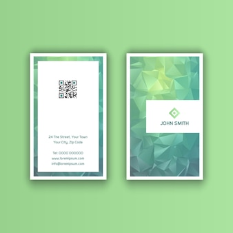 Vertical business card with a low poly design