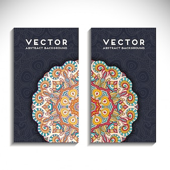 Vertical business card with mandala concept