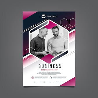 Vertical business flyer template with photo