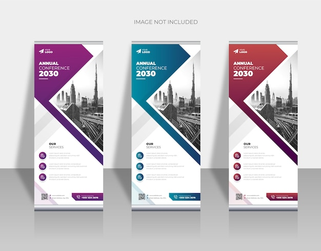Вертикальный бизнес ролл ап баннер шаблон премиум