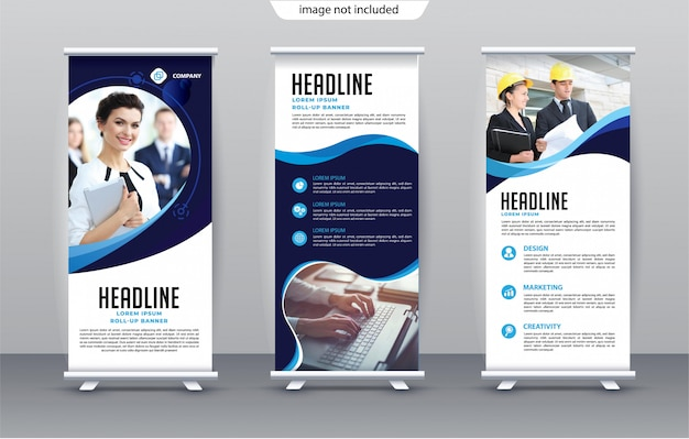Vertical business roll up banner template premium
