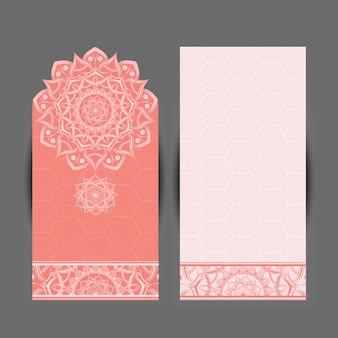 Vertical card background with mandala design