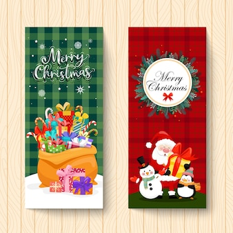 Vertical card design with merry christmas icon