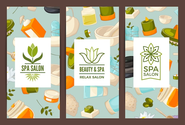 Vertical card or flyer for beauty and spa salon or bath shop