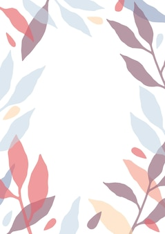 白い背景の葉を持つカラフルな半透明の木の枝で作られたフレームまたはボーダーで飾られた垂直カードテンプレート。美しい自然の装飾。モダンなフラット花のベクトル図
