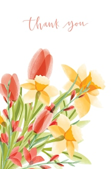 Vertical card template with lettering and bouquet of narcissuses and tulips on white. thank you note decorated by beautiful flowers. elegant colorful floral decorative illustration.