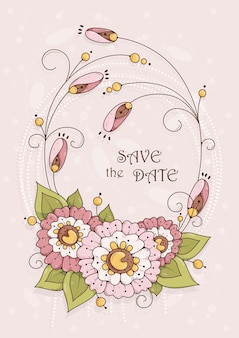招待状やお祝いのピンクの花を持つ垂直カード。