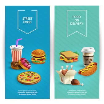 Vertical cartoon banners set with delicious fast food dishes, fast food restaurant
