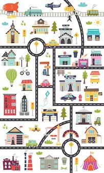 도로, 자동차, 건물이 있는 수직 어린이 지도. 포스터, 카펫, 어린이 방을 위한 보육 디자인. 벡터 일러스트 레이 션