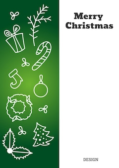 Vertical christmas card with contour figures of gingerbreadchristmas trees etc vector