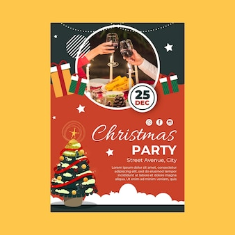 Vertical christmas party flyer template with tree