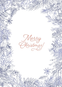 Vertical christmas postcard template decorated by frame made of branches and cones of conifers