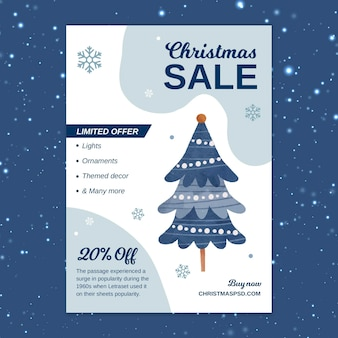 Vertical christmas sale flyer template with tree