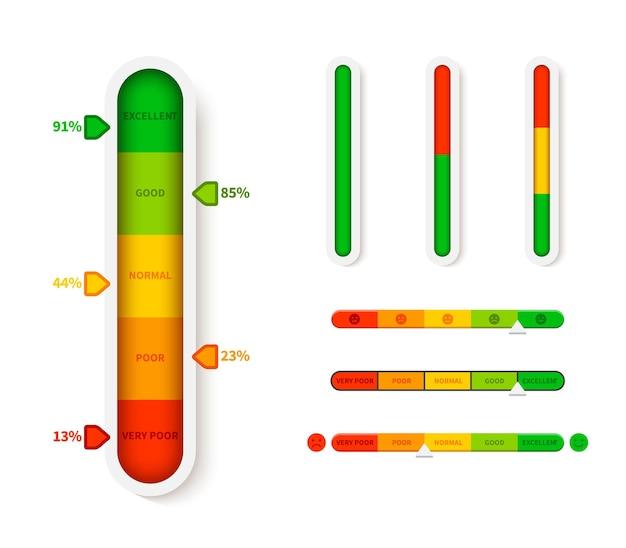 수직 색상 레벨 표시기. 진행률 표시 줄 템플릿. 화살표 기호 벡터 infographic 그림 슬라이더 요소 측정 진행