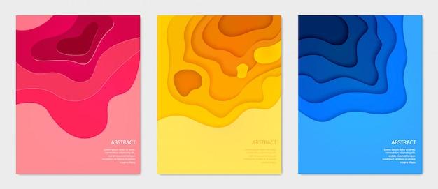 Установлены вертикальные красочные баннеры, абстрактный стиль papercut.