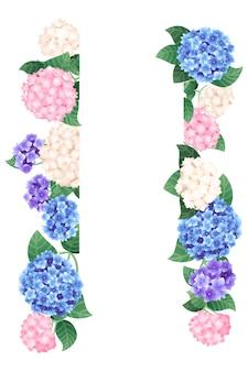 흰색 배경에 수직 다채로운 수국 템플릿 디자인 배너 평면 벡터 일러스트 레이 션.