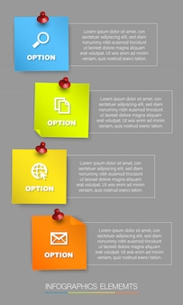 Vertical colorful sticky note infographic,  with four options and place for text