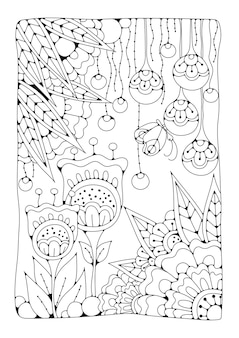 Vertical coloring page with flowers and butterfly for children and adults. black and white illustration for drawing.