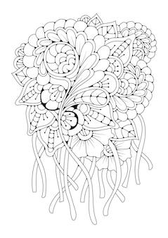 Вертикальные раскраски. фон для рисования. черно-белая иллюстрация с цветами.